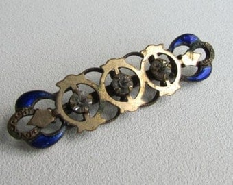 Victorian Art Deco Blue Enamel Rhinestone Brooch
