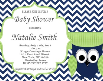 Owl Baby Shower Invitation Boy Baby Shower invitations Printable Baby Shower Invites -FREE Thank You Card - editable pdf Download (558) blue