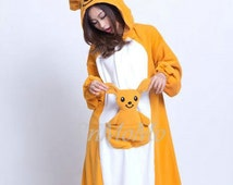KIGURUMI Cosplay Romper Charactor animal Hooded Pajamas  Xmas gift Adult Costume sloth  outfit Sleepwear kangaroo animal onesie