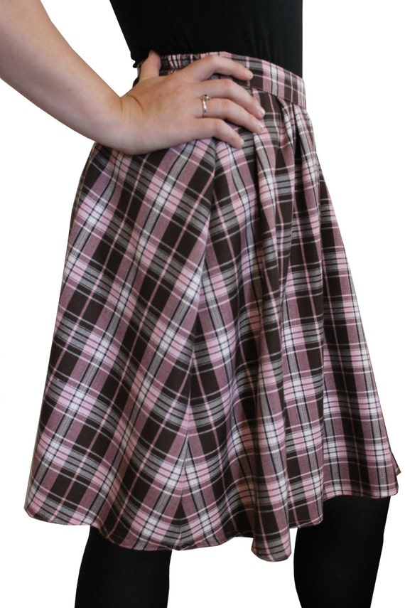 tartan skirt pleated knee length skirt with elasticated back