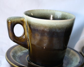 Vintage Pfaltzgraff CUP and SAUCER Set Green Drip Glaze Dishes