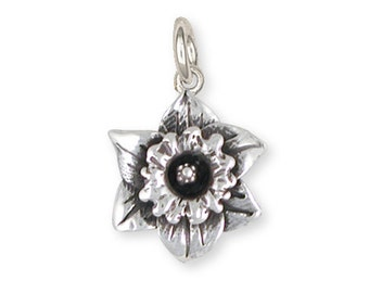 Solid Sterling Silver Daffodil Charm Jewelry  DAF2-C