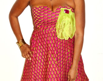 Ankara Print Short Strapless  Dress ,  Strapless Cocktail Dress, African Print Cocktail Dress