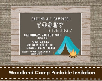 Woodland Camp Party Invitation - DIY - Printable
