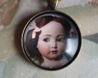 vintage doll necklace picture pendant