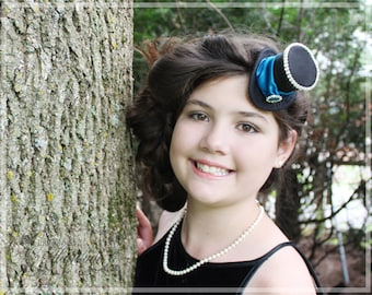 Mini Top Hat , Tiny Hat , Black and Blue Mini Hat , Mad Hatter Hat , Tea Party Hat , Bridal Shower Hat