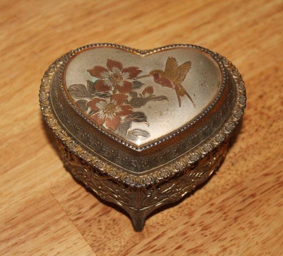 Antique Estate Music Trinket Jewelry Box Sankyo Japan Heart