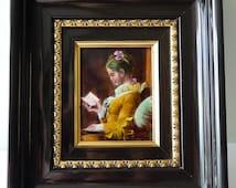Jean Honore Fragonard Antique Limoges Enamel copy of 'La Liseuse' The Reader