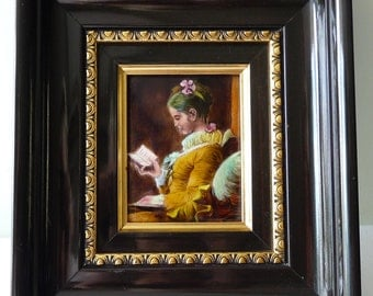 Jean Honore Fragonard Antique Limoges Enamel copy of 'La Liseuse' The Reader