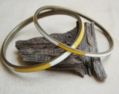 Reserved for Azureamelie - Vintage Yellow & White Enamel and Brass Bangle Summer Bracelet Duo Set