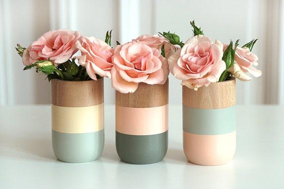 Lot de 3 peint en bois Vases Home Decor printemps