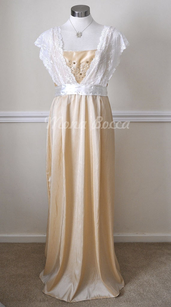 Edwardian Style Dresses Edwardian Dress  handmade in England cream stone Titanic Downton Abbey vintage styled with ivory lace and Swarovski crystals $134.24 AT vintagedancer.com