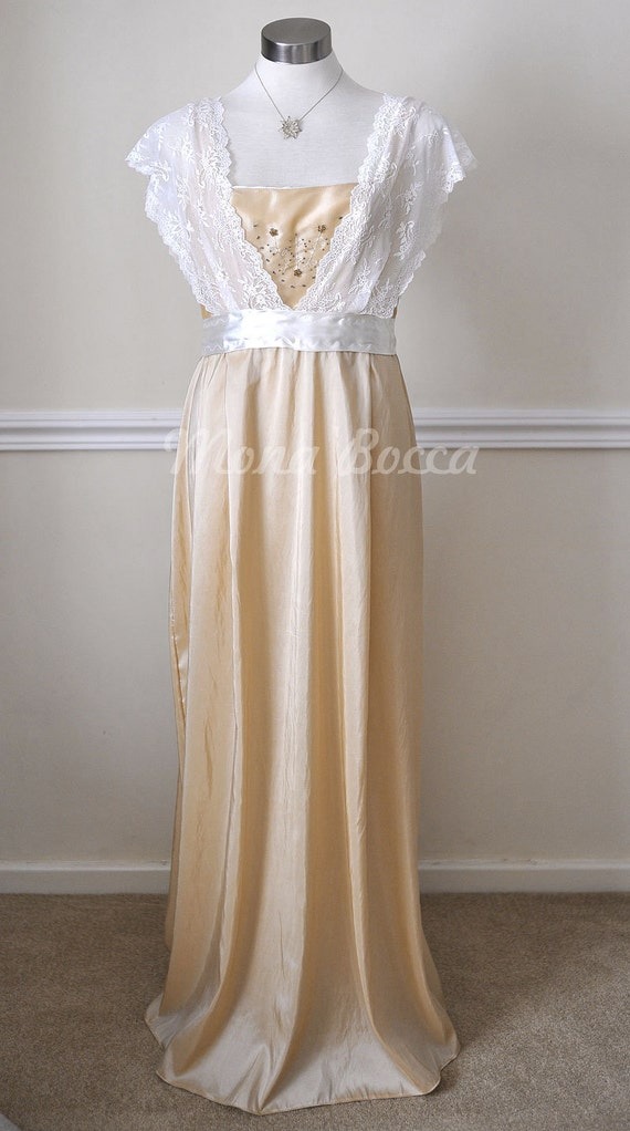 Edwardian Style Wedding Dresses Edwardian Dress  handmade in England cream stone Titanic Downton Abbey vintage styled with ivory lace and Swarovski crystals $134.24 AT vintagedancer.com