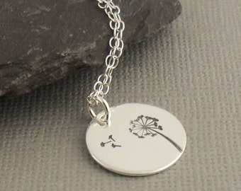 Wish Sterling Silver Necklace 925, Dandelion Pendant Necklace, Sterling Silver Jewellery