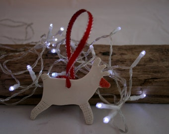 Christmas tree decoration Porcelain Raindeer