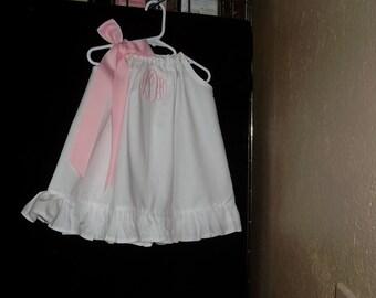 Girl White Pillowcase Dress-Girl Monogrammed Dress-Girl Personalized White Dress-Girl-Girl Birthday Dress-Girl Portrait Dress-Flower Girl