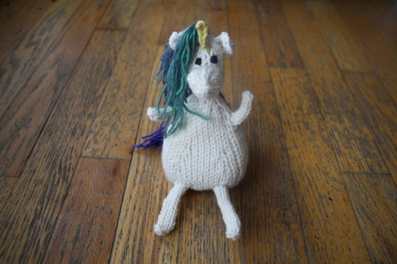 Ready to Ship Cream White Unicorn Horse with Multi-colored Mane and Yellow Horn