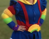 Rainbow Brite inspired fleece hoodie shirt (adult sizes)