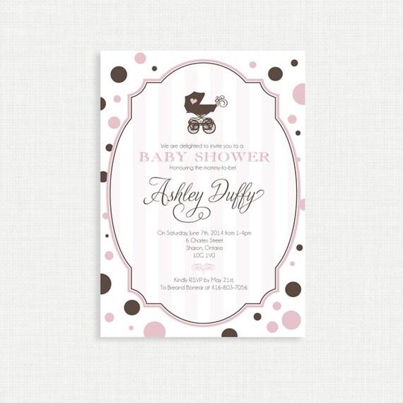 Printable Baby Shower Invitation-Girls Baby Shower Invitation - Modern, Pink, Brown, Pram, Polka Dots, Printable, Digital File