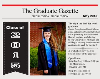 Newspaper Graduation Announcement - High School and College Graduation Invitation