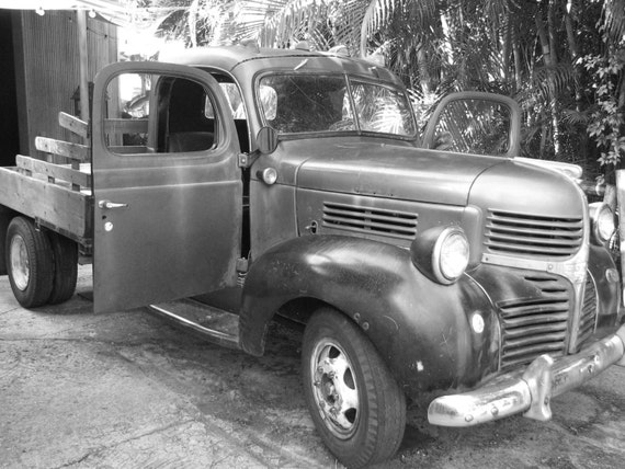 Vintage truck black and white photograph