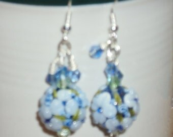 Lampwork Glass Floral Beads Raised Petals Blue 15 mm Round Bead Garden Green and Soft Blue Swarovski Crystals on Sterling Silver Ear Wires
