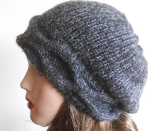 Gray Woman Wool Hat. Slouchy Hat. Hand Knit Hat. Winter Woman Hat.