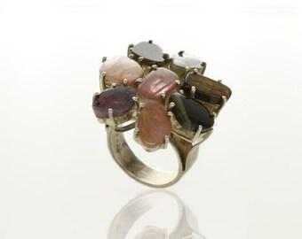 Sterling Silver Tourmaline Ring - Colorful Jewelry - Gemstone Jewelry - Elegant Jewelry - Royal Jewelry - Silver Jewelry