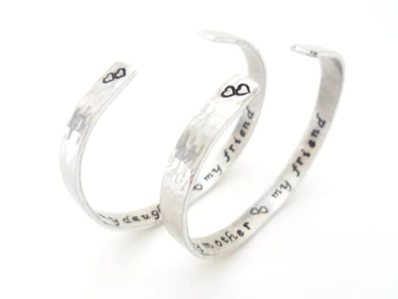 Mother Daughter Bracelet Gift Set, Friendship, Secret Message, LoVe Bracelets, Textured. A Pair TWO Bracelets, Customizable