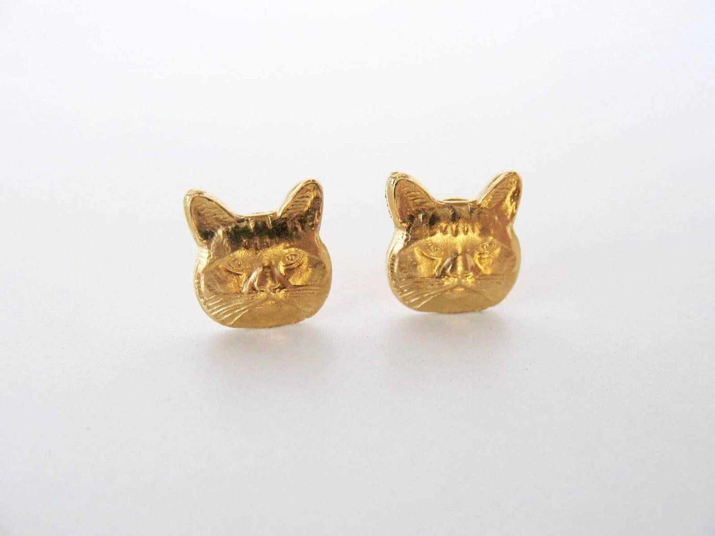 cat post earrings gold cat stud earrings cat posts cat