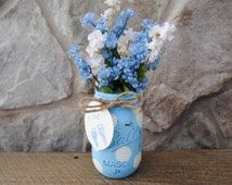Shabby Chic Vintage-inspired hand-painted blue polka dot distressed jars/vase - baby boy shower centerpiece
