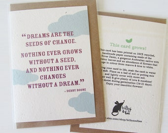 Dreams - Plantable Seeded Paper Greeting Card. A card that grows!