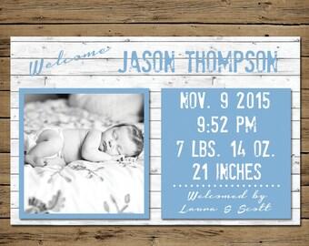 Rustic Baby Boy Birth Announcement - Printable Photo Birth Card - Blue