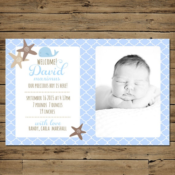 nautical baby boy birth announcement by pinksangriadesigns