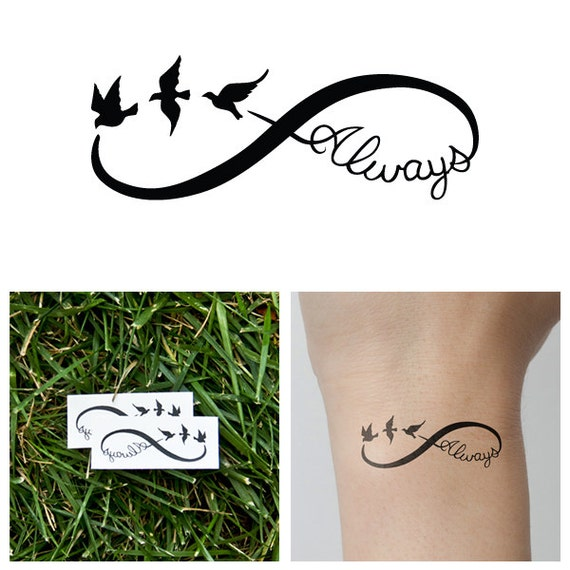 infinity always temporary tattoo set of 2. Black Bedroom Furniture Sets. Home Design Ideas