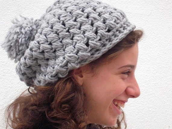 Gray slouchy beanie hat - Women acessories - Winter fashion - Holiday gift idea
