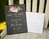 Chalkboard Save the Date, Save the Date card - The Jenna - rustic save the date, save the date postcard, chalkboard, floral, flowers, unique