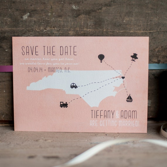 Rustic Save the Date, Save the Date card - The Coral - vintage style, rustic wedding, wedding stationery, state save the date, eco friendly