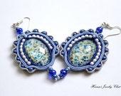 Soutache Jewelry, Blue Jewelry, Soutache Earrings, Blue Earrings, Dusk Blue Earrings, Soutache Earrings, Shabby Chic Earrings