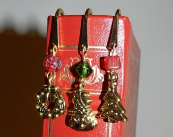 Christmas Bookmarks, Glass Beads, Gold Plated, 3 1/2 in. Christmas Tree, Christmas bell, Christmas Wreath, For Book Lovers