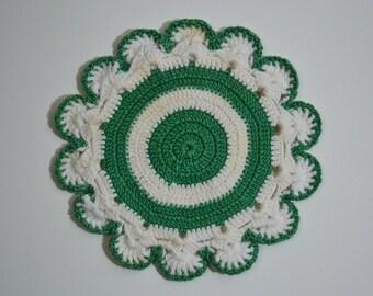 Vintage Green and White Crochet Pot Holders