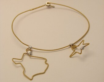 Guitar String State of Texas Bracelet (Recycled and Upcycled) (Lone Star State)