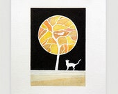 Tree watercolor illustration, original painting, yellow tree, cat and bird, wall art decor, A4 by VApinx - VApinx