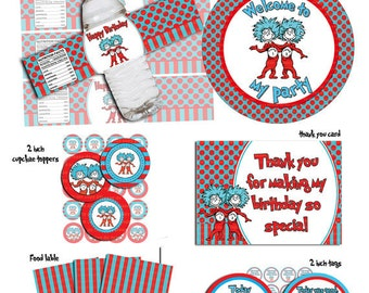 INSTANT DL- Thing 1 Thing 2- Printable Birthday party Package digital file (not editable)