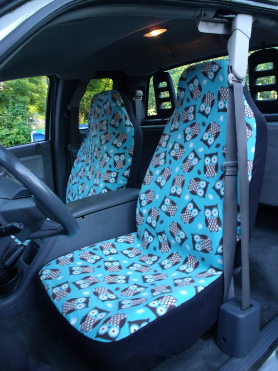 1 set of turquoise owls print custom made car seat covers. Black Bedroom Furniture Sets. Home Design Ideas