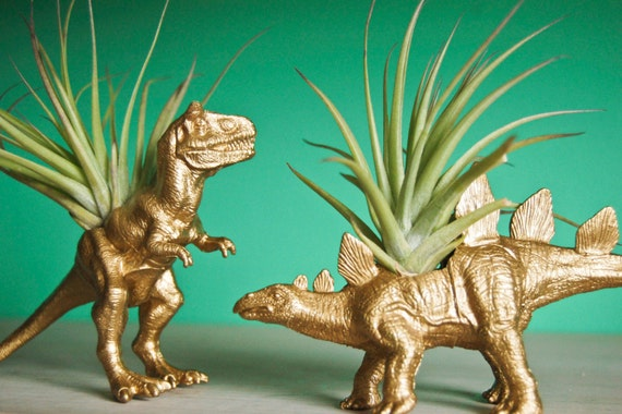Gold Dinosaur Tillandsia Planter // Air Plant Dinosaur Pot // T-Rex and Stegosaurus