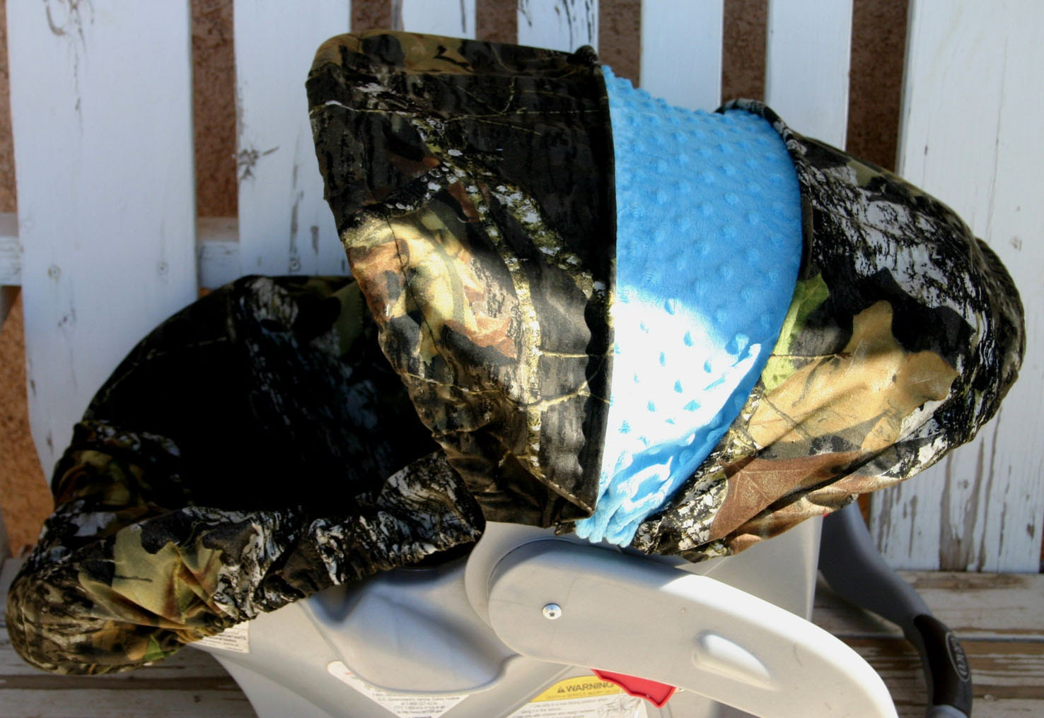 Mossy Oak Camo With Teal Turquoise Minky Car Seat Cover And