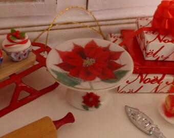Christmas Poinsettia Porcelain Dollhouse Cake Stand
