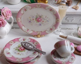 Staffordshire Rose Pink Porcelain Dollhouse Tray in 1:12 Scale