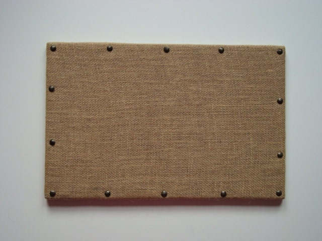 burlap covered cork board with antique brass by eleanorscorksnmore. Black Bedroom Furniture Sets. Home Design Ideas
